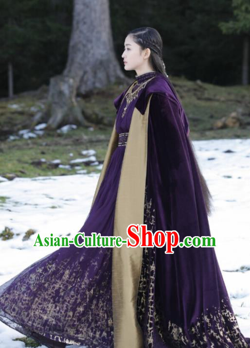 Ancient Chinese Drama Royal Princess Ever Night Traditional Tang Dynasty Female Swordsman Purple Costumes for Women