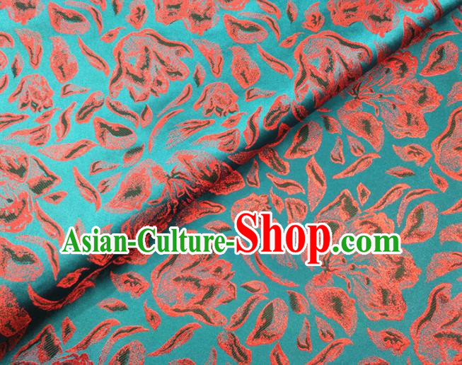 Asian Chinese Traditional Rose Petals Pattern Design Blue Brocade Cheongsam Fabric Silk Material