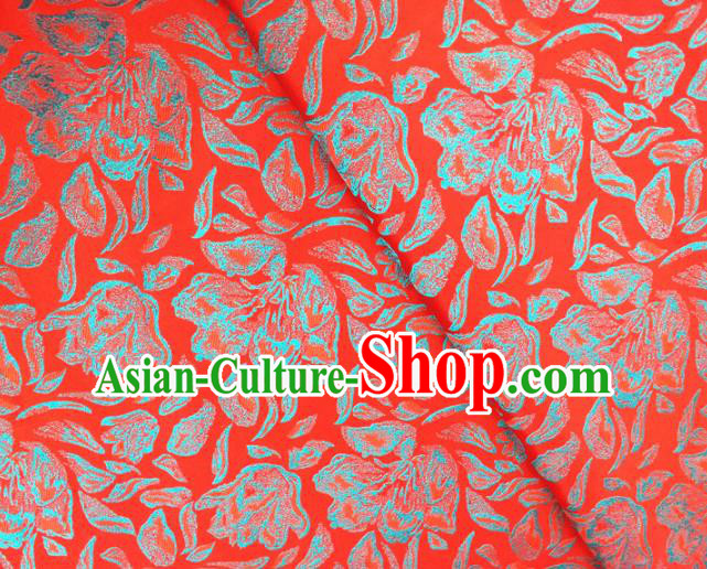 Asian Chinese Traditional Rose Petals Pattern Design Red Brocade Cheongsam Fabric Silk Material