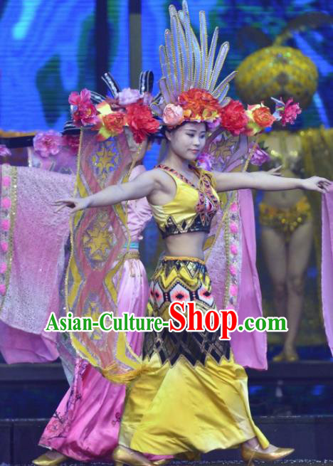 Chinese The Romantic Show of Sanya Peacock Dance Yellow Dress Stage Performance Costume and Headpiece for Women