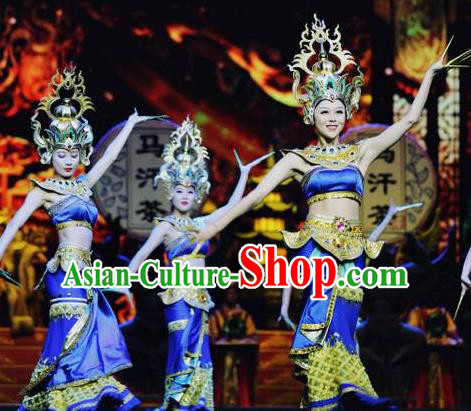 Chinese The Romantic Show of Lijiang Peacock Dance Blue Dress Stage Performance Costume and Headpiece for Women