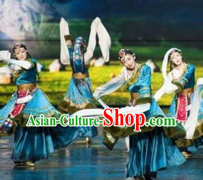 Chinese The Romantic Show of Lijiang Tibetan Dance Blue Dress Stage Performance Costume and Headpiece for Women