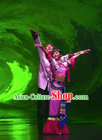 Chinese The Romantic Show of Lijiang Stage Performance Bai Nationality Dance Costumes for Women for Men