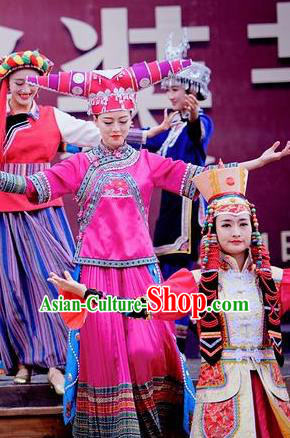 Chinese The Romantic Show of Lijiang Ethnic Nationality Dance Dress Stage Performance Costume and Headpiece for Women