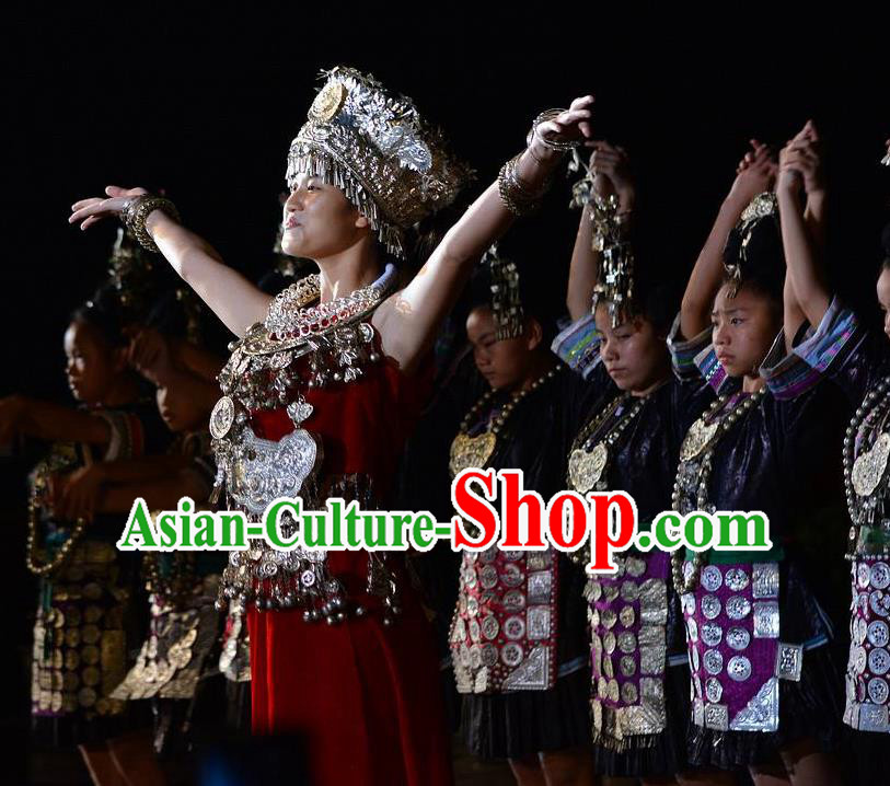 Chinese The Quest for Liu Sanjie Miao Ethnic Dance Dress Stage Performance Goddess Costume and Headpiece for Women