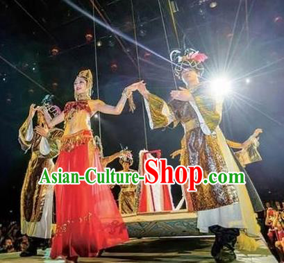Chinese The Romantic Show of Sanya Stage Performance Dance Costumes and Headpiece for Women for Men
