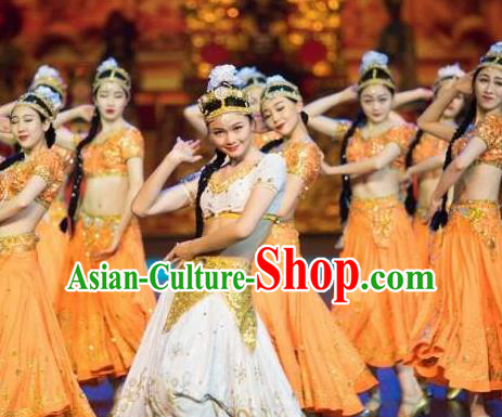 Chinese The Romantic Show of Songcheng Dance Dress Stage Performance Costume and Headpiece for Women