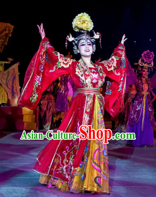 Chinese The Dream of Tang Dynasty Imperial Consort Dance Red Dress Stage Performance Costume for Women