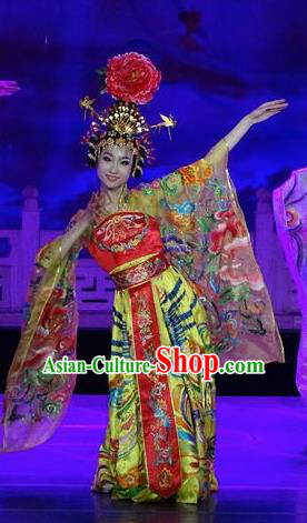 Chinese The Dream of Datang Tang Dynasty Court Dance Yellow Dress Stage Performance Costume for Women