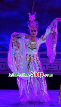 Chinese The Dream of Datang Tang Dynasty Court Dance White Dress Stage Performance Costume for Women