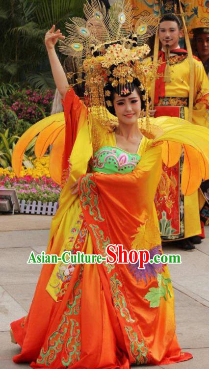 Chinese The Dream of Datang Tang Dynasty Imperial Consort Dance Orange Dress Stage Performance Costume for Women