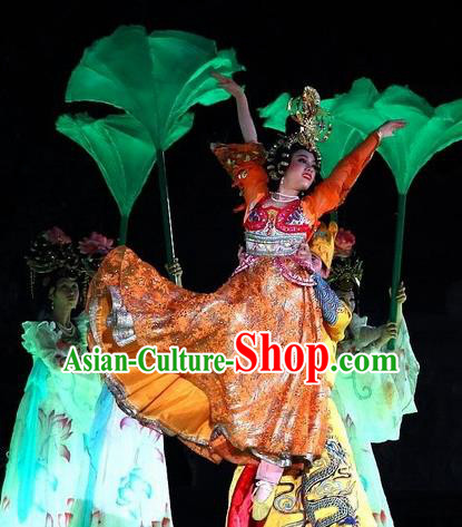 Chinese The Long Regret Tang Dynasty Court Dance Orange Dress Stage Performance Costume for Women