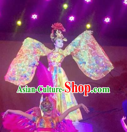 Chinese The Long Regret Tang Dynasty Court Concubine Dance Yellow Dress Stage Performance Costume and Headpiece for Women