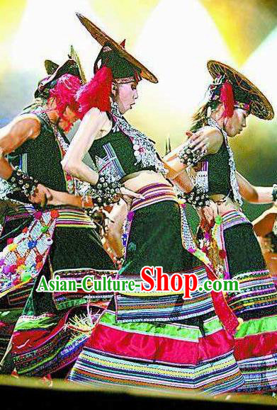 Chinese Dynamic Yunnan Dai Nationality Peacock Dance Black Dress Stage Performance Ethnic Costume for Women