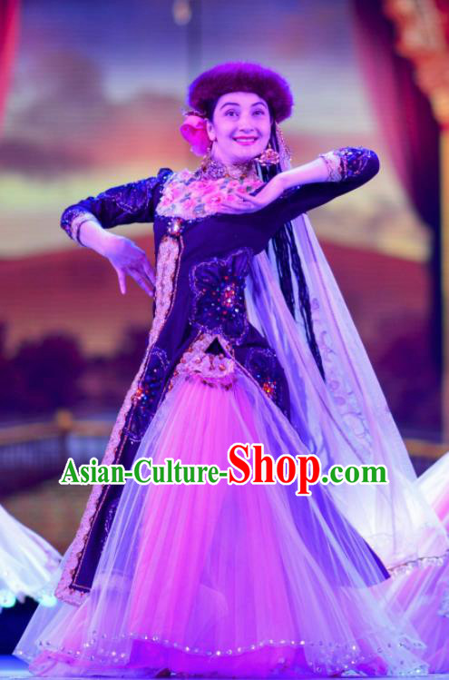Chinese Back to the Silk Road Uyghur Nationality Dance Dress Stage Performance Ethnic Costume for Women