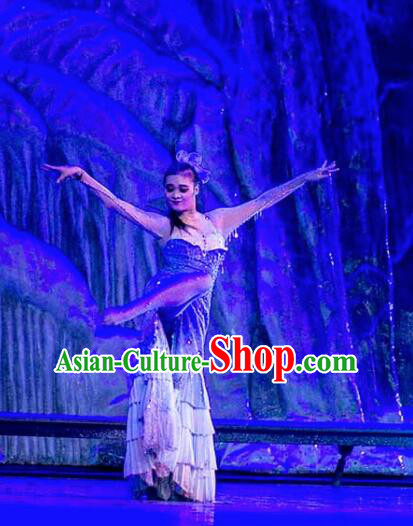 Chinese Back to the Silk Road Kazak Nationality Dance Blue Dress Stage Performance Ethnic Costume for Women