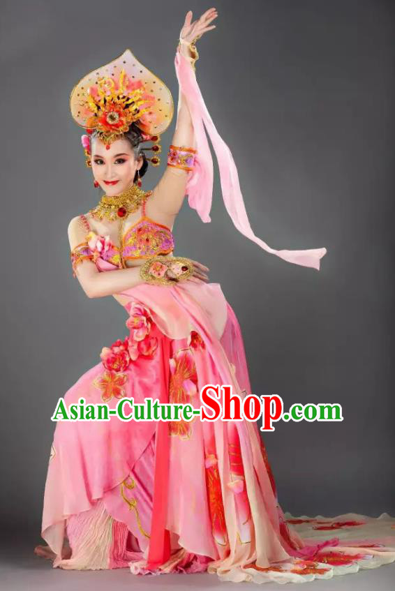 Chinese Back to the Silk Road Nationality Classical Dance Pink Dress Stage Performance Ethnic Costume for Women