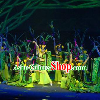 Chinese Chinese The Mystery Show of Huizhou Classical Dance Green Dress Stage Performance Costume and Headpiece for Women