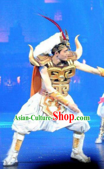 Chinese The Romantic Show of Jiuzhai General White Body Armor Stage Performance Dance Costume for Men