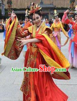 Chinese The Romantic Show of Mingyue Classical Dance Red Dress Stage Performance Costume for Women