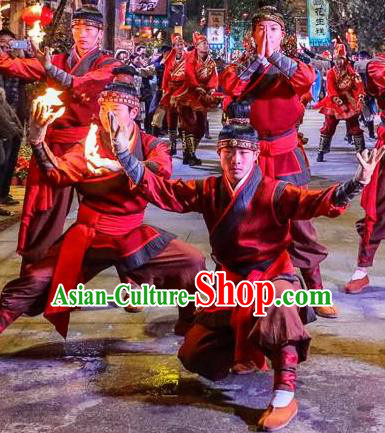 Chinese The Romantic Show of Mingyue Acrobatics Stage Performance Dance Costume for Men