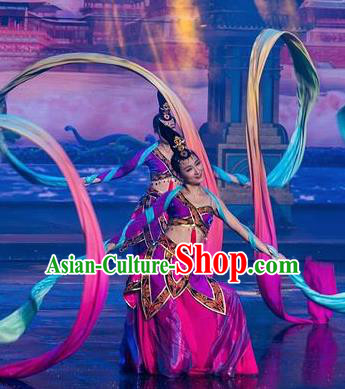 Chinese The Romantic Show of Tanhe Classical Dance Purple Dress Stage Performance Colorful Ribbon Costume for Women