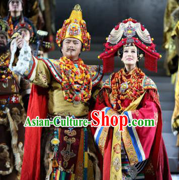Chinese Princess Wencheng and Srongtsen Gampo Stage Performance Dance Costumes for Women for Men