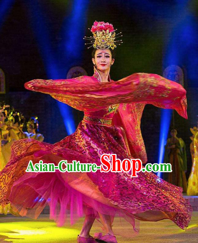 Chinese Chang An Impression Ancient Court Queen Dance Rosy Dress Stage Performance Costume and Headpiece for Women