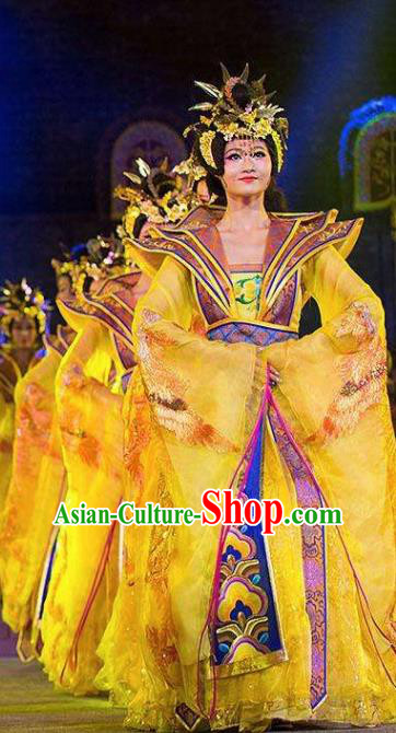 Chinese Chang An Impression Ancient Court Queen Dance Yellow Dress Stage Performance Costume and Headpiece for Women