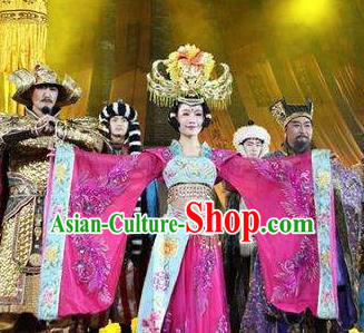 Chinese Chang An Impression Ancient Court Queen Dance Purple Dress Stage Performance Costume and Headpiece for Women