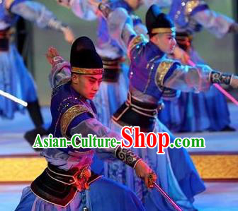 Chinese Chang An Impression Ancient Tang Dynasty Swordsman Stage Performance Blue Costume for Men