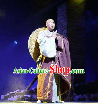 Chinese Dharma Legends in Famen Temple Ancient Tang Dynasty Buddhist Monk Cassock Stage Performance Costume for Men