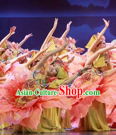 Chinese The Ship Legend of Huashan Zhuang Nationality Dance Pink Dress Stage Performance Costume and Headpiece for Women