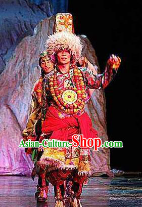 Chinese Impression Tibetan Zang Nationality Clothing Stage Performance Dance Costume for Men