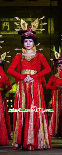 Chinese Chang An Impression Ancient Tang Dynasty Classical Dance Red Dress Stage Performance Costume and Headpiece for Women