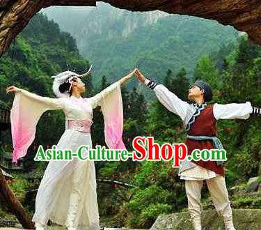 Chinese The Love Story Of A Woodman And A Fairy Fox Stage Performance Dance Costumes for Women for Men