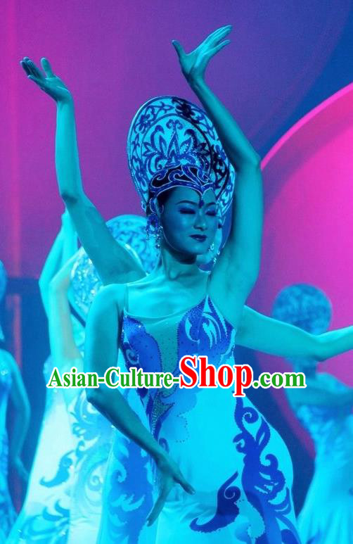 Chinese Magic Ganpo Classical Dance Dress Stage Performance Costume and Headpiece for Women
