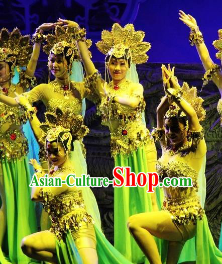 Chinese Magic Ganpo Impression Classical Dance Dress Stage Performance Costume and Headpiece for Women