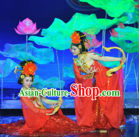 Chinese Magic Ganpo Impression Classical Dance Red Dress Stage Performance Costume and Headpiece for Women