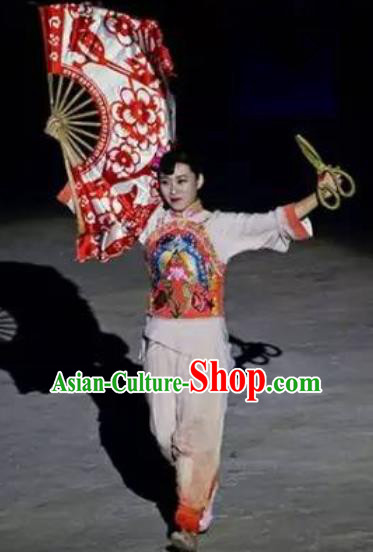 Chinese Sutras In The Golden Hill Folk Fan Dance Dress Stage Performance Costume and Headpiece for Women