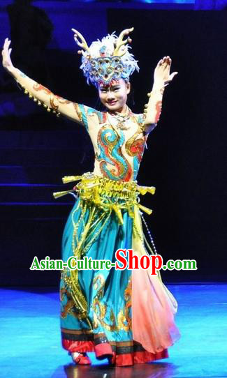 Chinese Jinxiu Shenzhou Classical Dance Ethnic Dance Green Dress Stage Performance Costume and Headpiece for Women