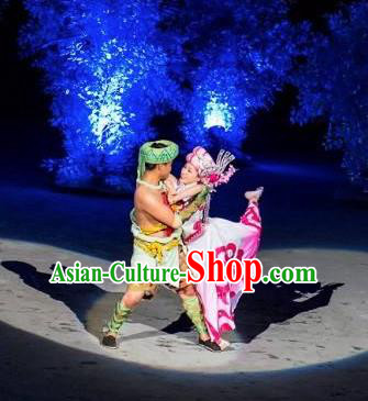 Chinese Dragon Boat Song Tujia Nationality Ethnic Wedding Bride and Bridegroom Stage Performance Dance Costumes for Women for Men