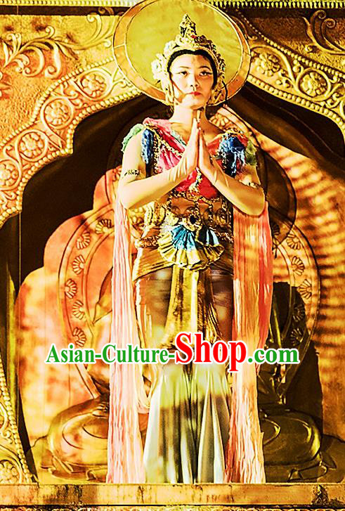 Chinese the Porcelain Tower Ceremony Flying Apsaras Classical Dance Dress Stage Performance Costume and Headpiece for Women