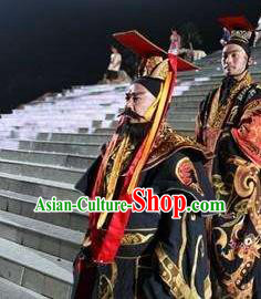 Chinese Mount Tai Worship Ceremony Qin Dynasty First Emperor Stage Performance Dance Costume for Men