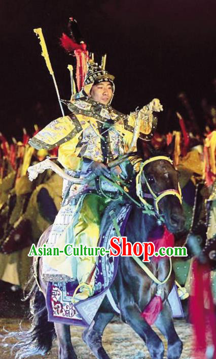 Chinese Kangxi Ceremony Qin Dynasty Emperor Kangxi Body Armor Stage Performance Dance Costume for Men