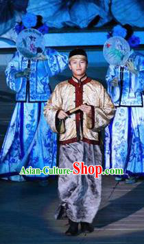 Chinese Kangxi Ceremony Qin Dynasty Manchu Prince Stage Performance Dance Costume for Men