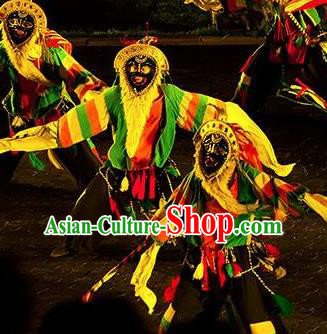 Chinese Kangxi Ceremony Qin Dynasty Shaman Dance Stage Performance Costume for Men