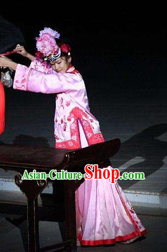 Chinese Kangxi Ceremony Qing Dynasty Court Maid Dance Pink Dress Stage Performance Costume for Women