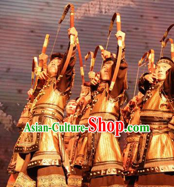 Chinese Impression of Going East To Native Land General Body Armor Stage Performance Folk Dance Costume for Men