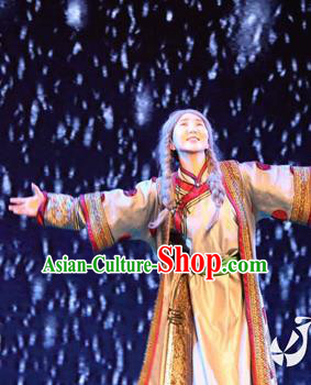 Chinese Impression of Going East To Native Land Mongol Nationality Torghut Dance Dress Stage Performance Costume for Women